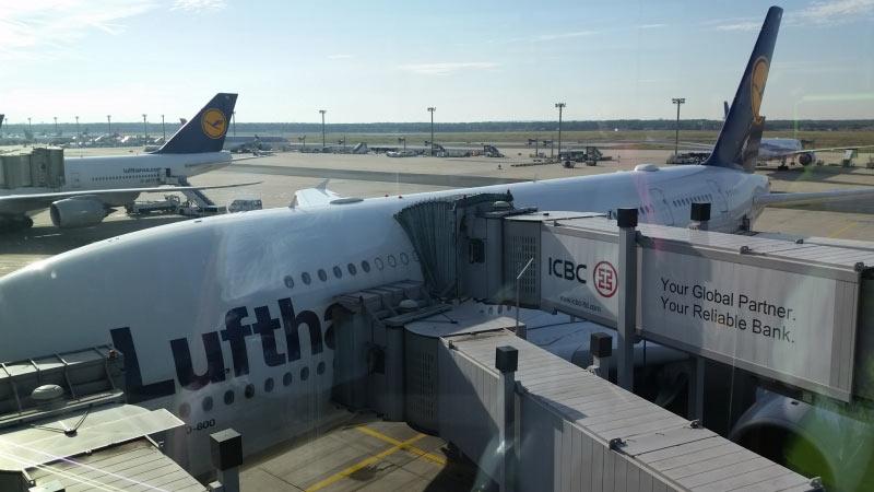 A380-800 nach der Ankunft in Frankfurt/Main