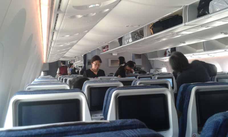 Innenraum der Economy Class vom Hinflug. Krasser Unterschied