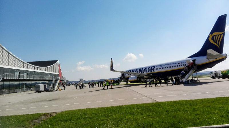 Ryanair am Memminger Flughafen.