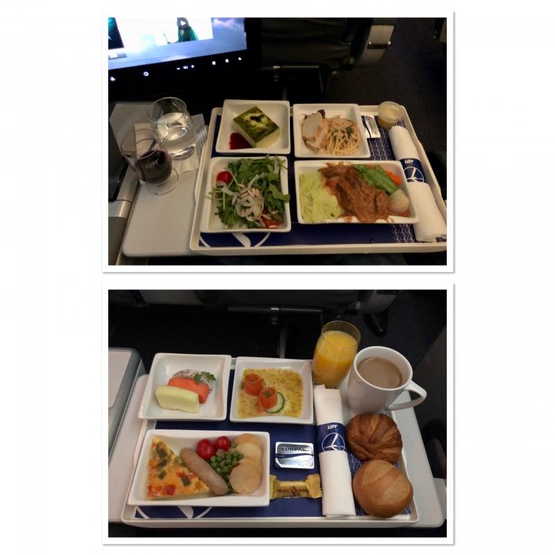 Abendessen und Fr�hst�ck auf dem Flug von Singapur nach Warschau