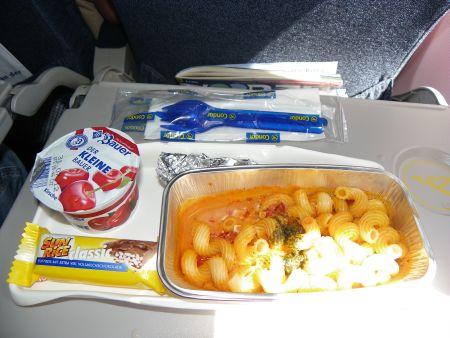 Das Essen auf dem Hinflug.