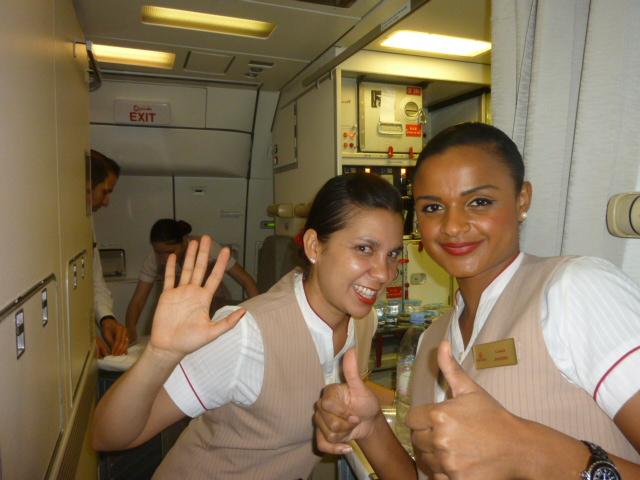 Die nette Crew auf dem A330 von Dubai nach Durban.