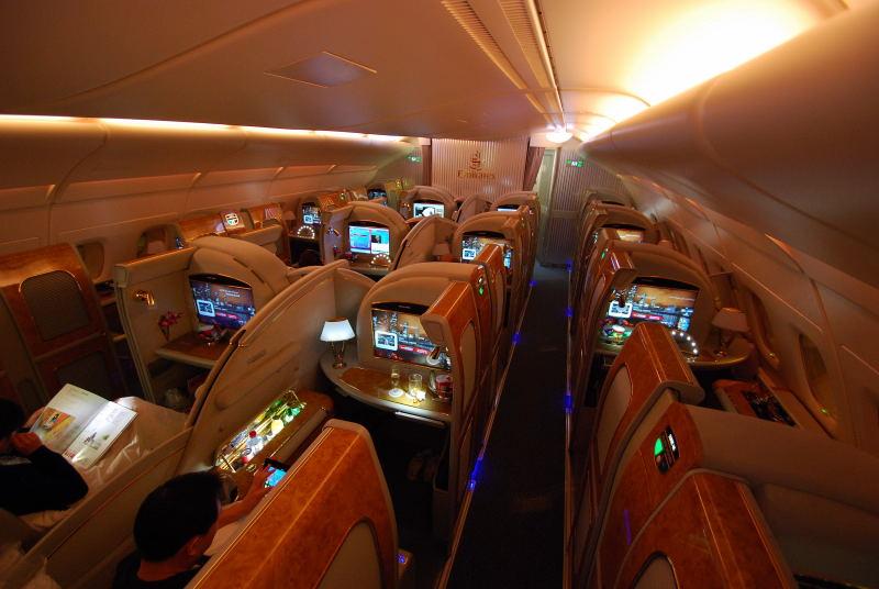 First Class Kabine im Oberdeck des A380