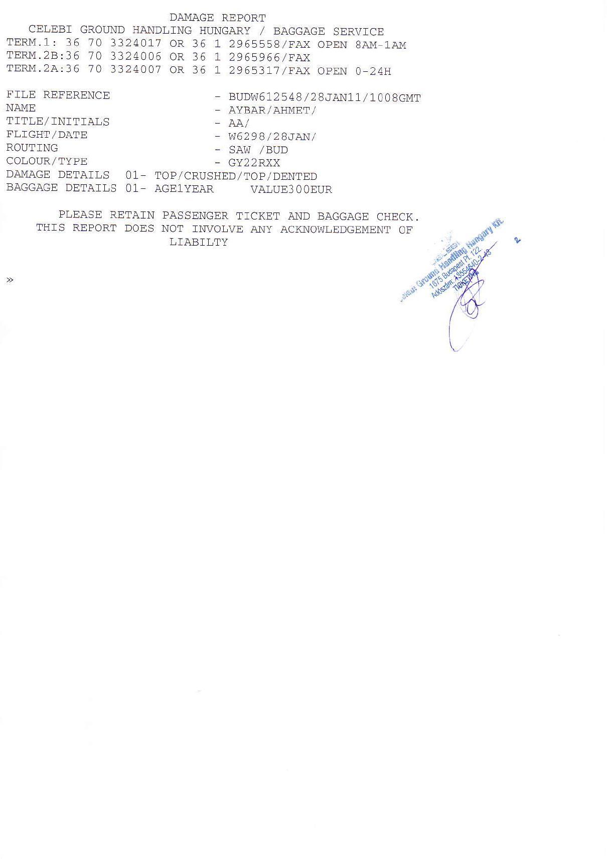 Dokument, was ich in Budapester Flughafen bekommen habe.