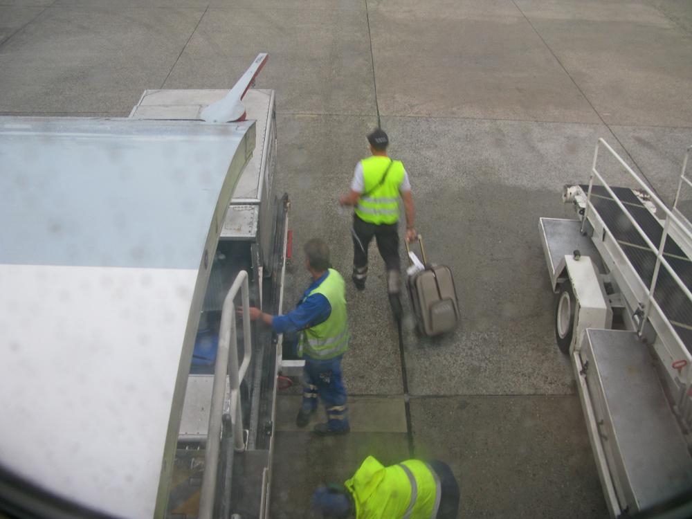 Der vermutlich fehlgeleitete Koffer wird dem Container wieder entnommen.