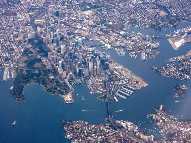 Kurz nach dem Start. Super Blick auf Sydney.
