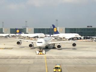 Die A340-600 auf dem Weg zum Gate in Frankfurt!